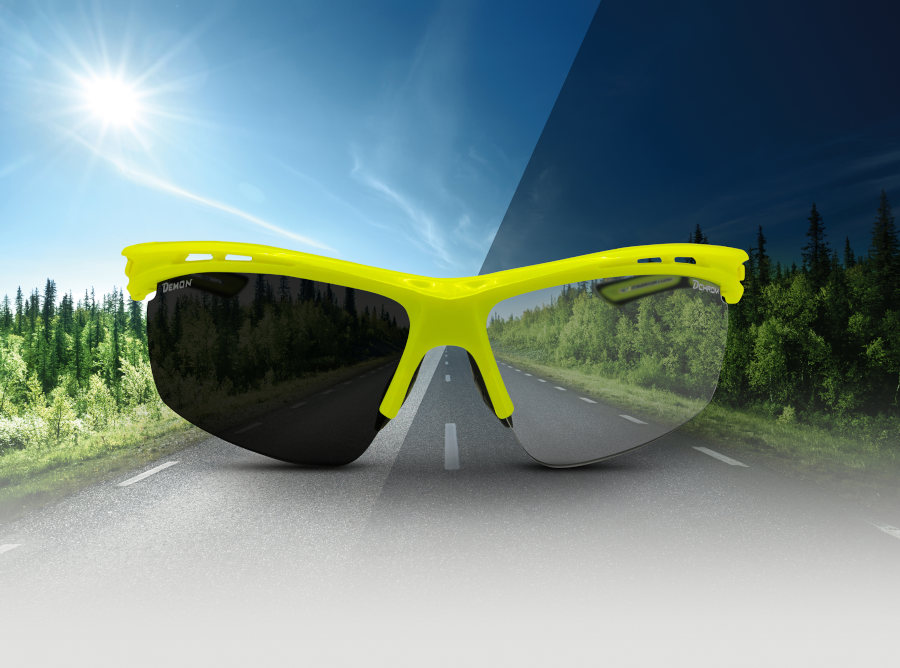 cycling sunglasses photochromic lenses neon yellow color
