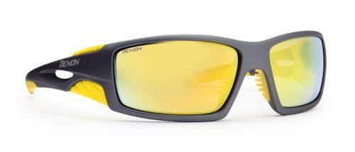 Hiking sunglasses mirror lenses dome grey yellow