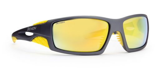 Hiking sunglasses mirror lenses dome grey yellow