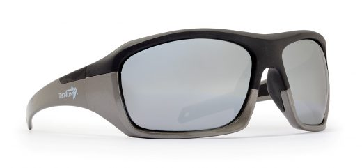 Multisport sunglasses with rubber frame solid black grey