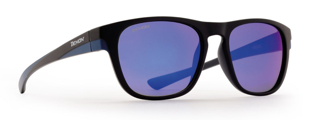 Fashion sunglasses with mirror lenses trend model matt black blue