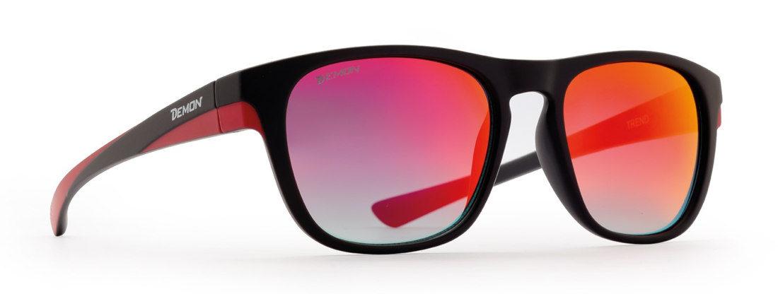 Fashion sunglasses with mirror lenses trend model matt black red