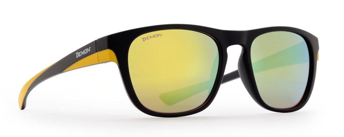 Fashion sunglasses with mirror lenses trend model matt black yellow