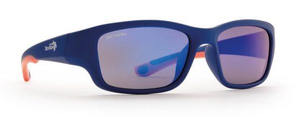 Hiking and sport sunglasses for kids teen model category 4 lenses rubber blue