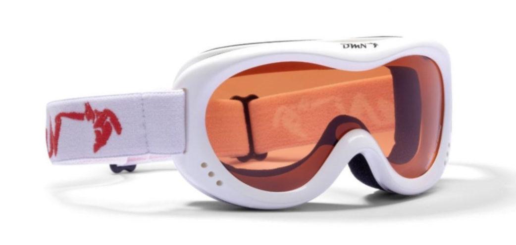 Kids ski goggles single orange lens white color