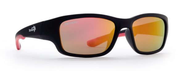 Kids sunglasses for all sports with smoke lenses teen mode rubber black