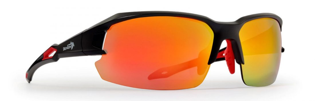 running and cycling sunglasses with interchangeable lenses tiger model black red