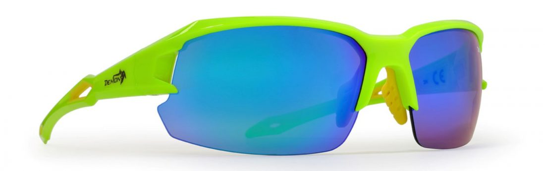 running and cycling sunglasses with interchangeable lenses tiger model lime fluo