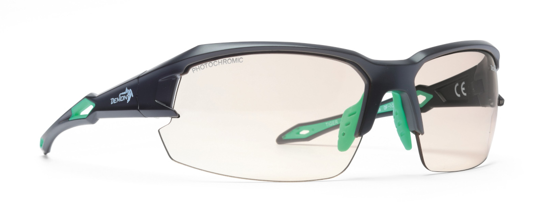 technical mountain bike sunglasses with photochromic lenses tiger model matt black green
