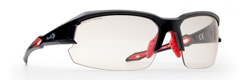 technical road cycling sunglasses with photochromic lenses tiger model model matt black red