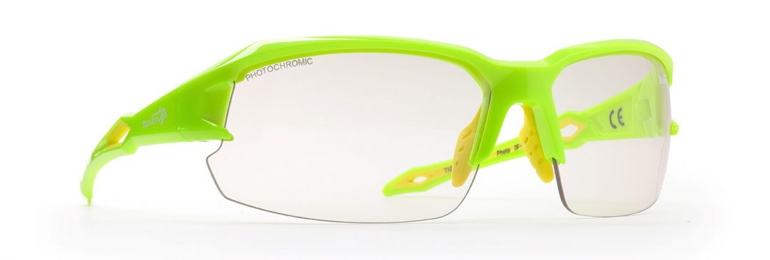 cycling sunglasses with photochromic lenses tiger model neon yellow