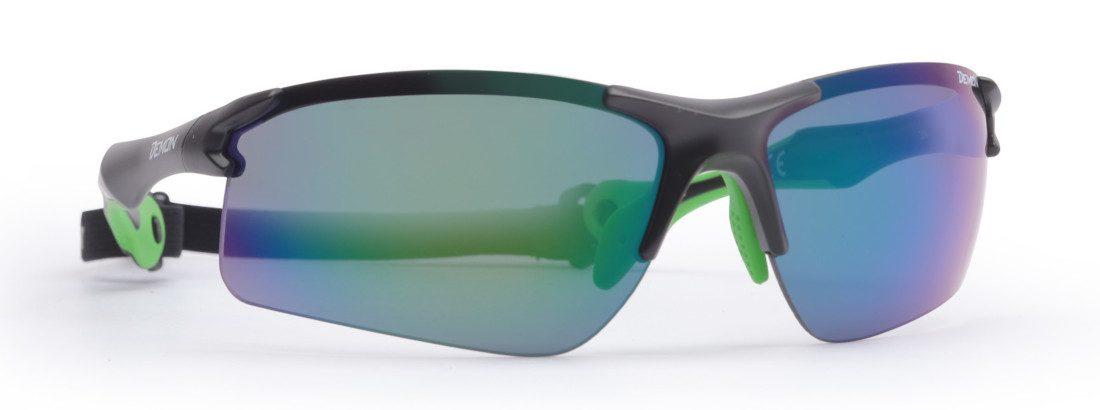 cycling and running sunglasses trail model matt black green dchange lenses