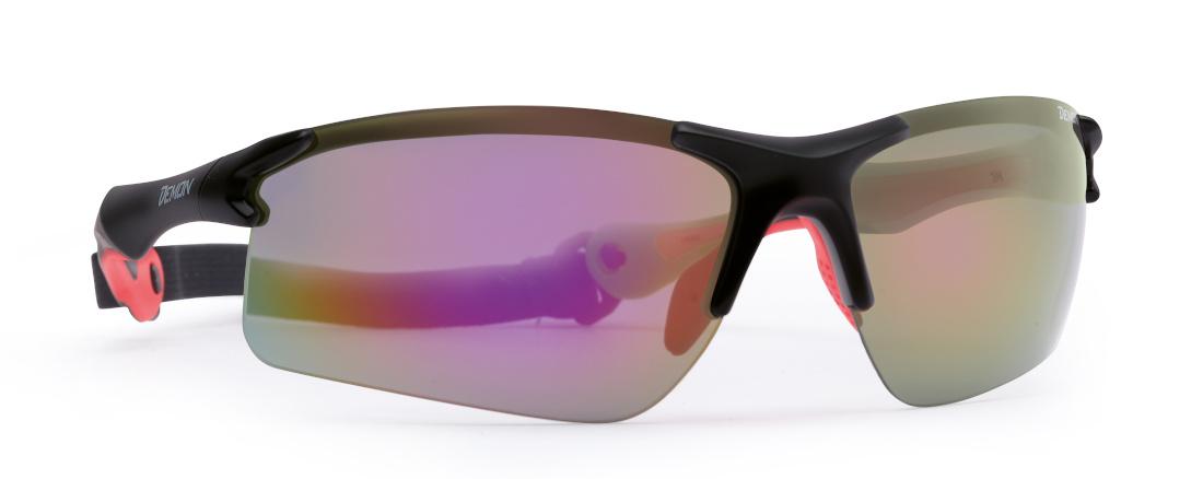 cycling and running sunglasses matt black red trail model