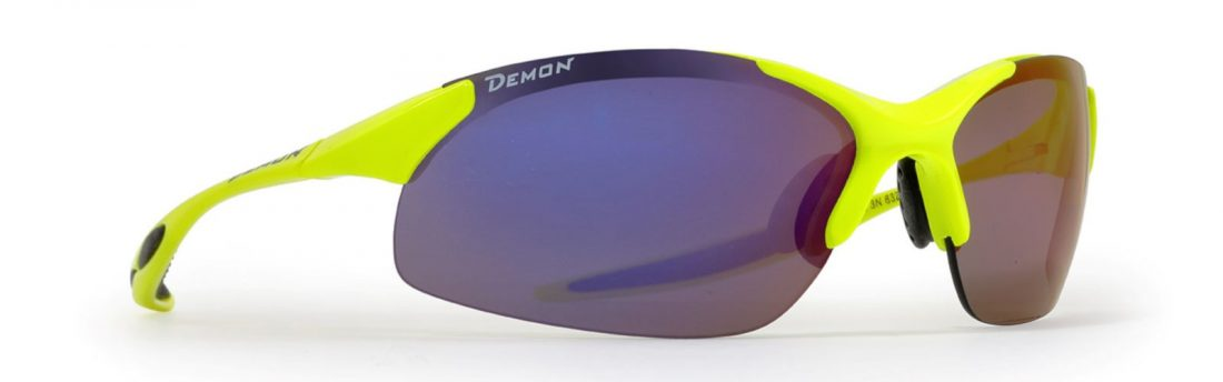 Cycling sunglasses with mirrored interchangeable lenses ultralight frame 832 neon yellow