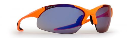 Road Cycling with mirrored interchangeable lenses ultralight frame 832 orange fluo