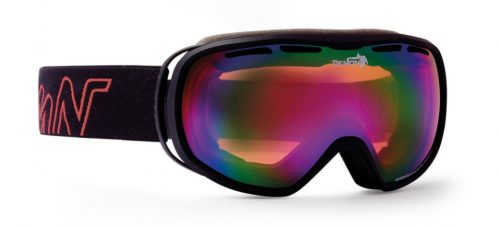 ski goggle for woman with double orange lenses rubber black red
