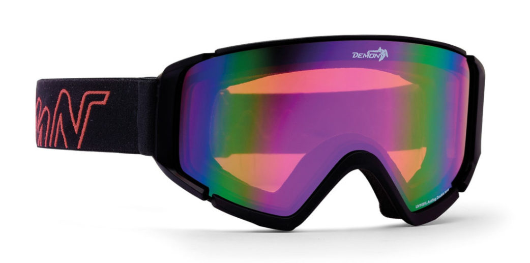 ski goggle with orange lens peak model rubber black