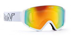 ski goggle with orange lens peak model rubber white red