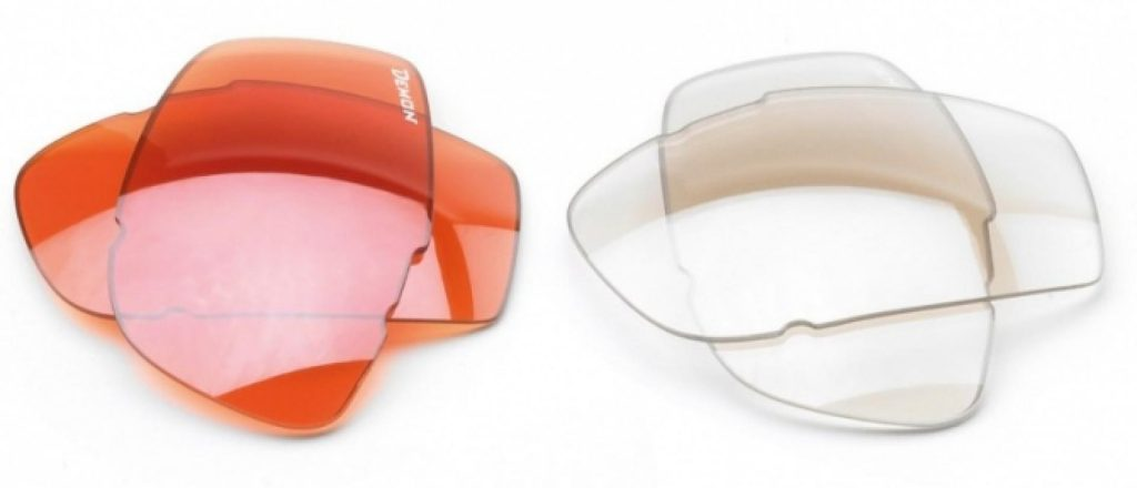 Orange and Clear lenses for sports sunglasses with Interchangeable DCHANGE lenses