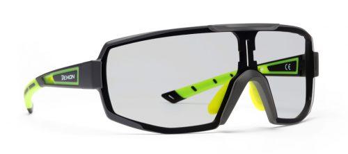 Sunglasses for Road Cycling and Mountain Bike Photochromic Single Lens DCHROM matt black yellow