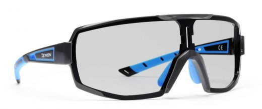 Sunglasses for road and trail running single lens photochromic dchrom perfromance model matt black blue