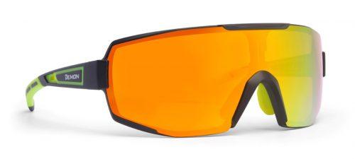 Glasses for road cycling and mountain bike dmirror single lens performance model matt black yellow