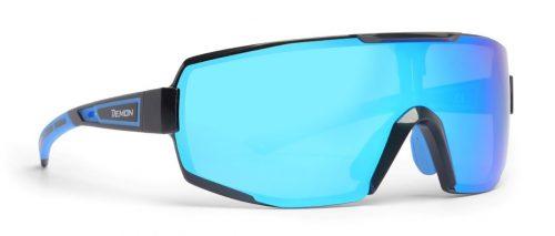 Glasses for road running and trail running dmirror single lens performance model matt black blue