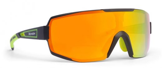 Multilayer single lens sport glasses mirrored for all sports performance model matt black yellow