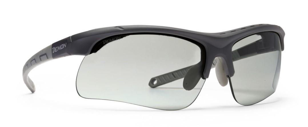 running sunglasses with photochromic lenses and sweat sponge infinite optic matt black grey