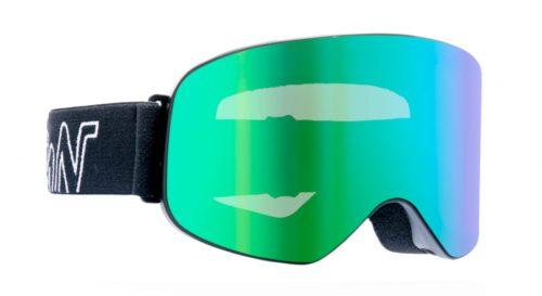Ski and snowboard goggles mirrored lenses master model black green