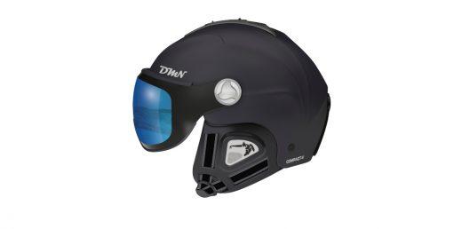 Visor ski helmet photochromic mirrored lens matt black blue