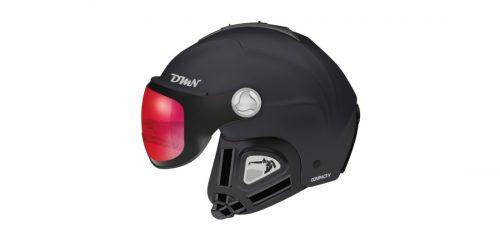 Visor ski helmet photochromic mirrored lens matt black red