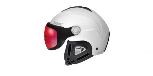 Visor ski helmet photochromic mirrored lens matt white red color