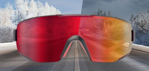 Road cycling and mtb sunglasses photochromic mirrored red lens performance model