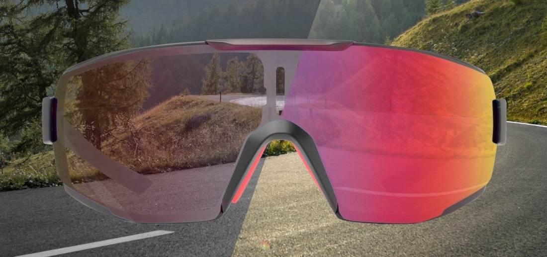 Running and trail running sunglasses photochromic mirrored lens performance dchrom black red